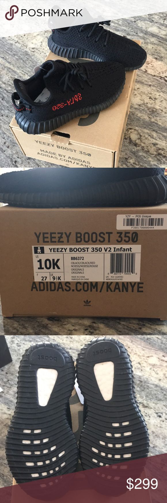 Yeezy boost 350 V2 Infant size 10K BRAND NEW! 100% Authentic!! Black shoes with black soles and red detailing. Toddler size 10. Comes from a smoke free/ pet free home. NO TRADES. Yeezy Shoes Sneakers