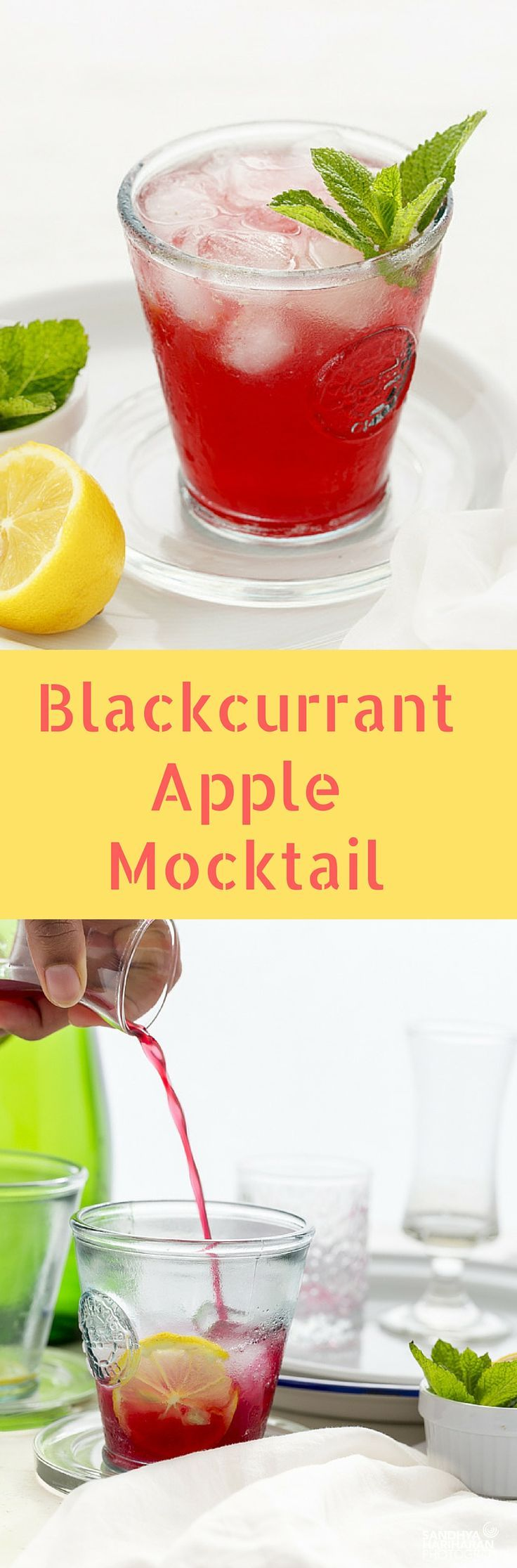 Blackcurrant Apple Mocktail drink can be shaken up in 10 minutes with Blackcurrant Juice, Limeade concentrate and sparkling apple juice.