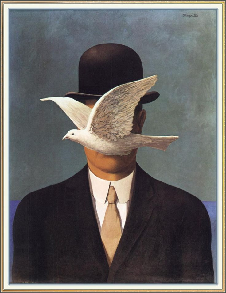 "Rene Magritte ""Man in a Bowler Hat, 1964"" {not sure why I like this so much, but I do... it makes me chuckle a little.}"