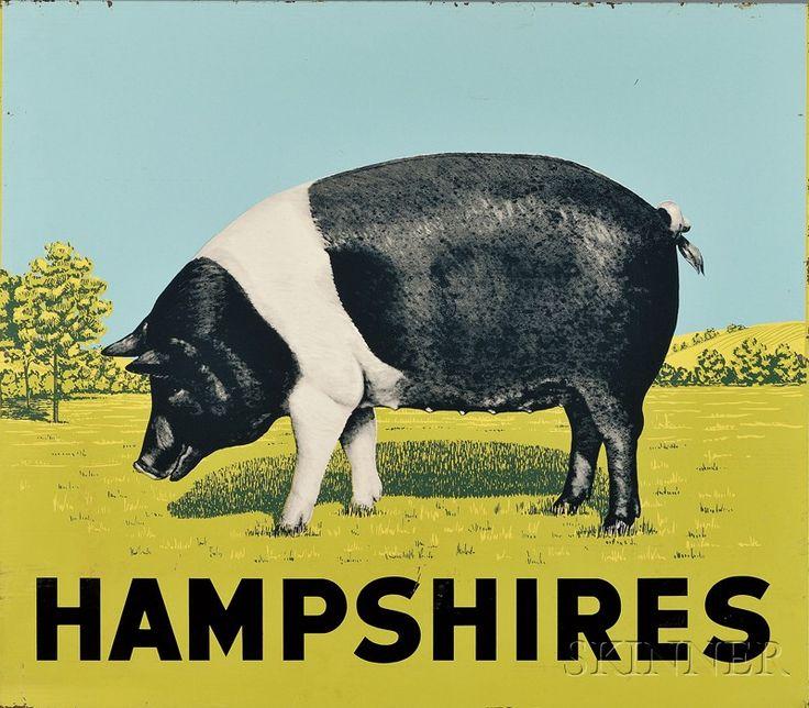 "Enameled Lithographed Sheet Metal ""HAMPSHIRES"" Pig Farm Sign"