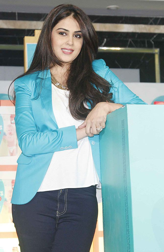 Genelia D'Souza Deshmukh snapped at Palladium promoting a range of childcare products.