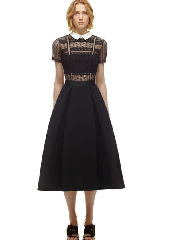 Бесплатная доставка Высокое качество мода Питер Пэн воротник короткий рукав кружева полым из Высокая талия женщина длинное платье черныйкупить в магазине Sunny  Zhu's store(  Exquisite  High-quality  Fashion) наAliExpress