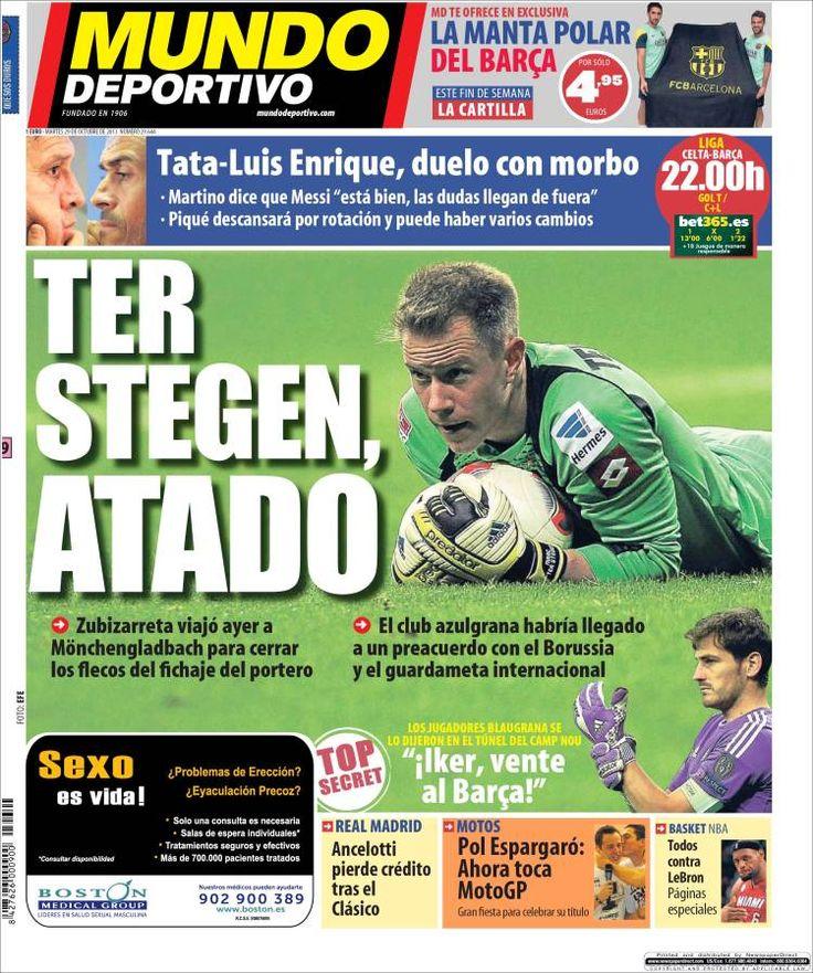 Los Titulares y Portadas de Noticias Destacadas Españolas del 29 de Octubre de 2013 del Diario Mundo Deportivo ¿Que le pareció esta Portada de este Diario Español?