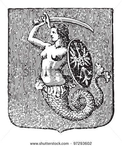 Warsaw coat of arms / vintage illustration from Meyers Konversations-Lexikon 1897