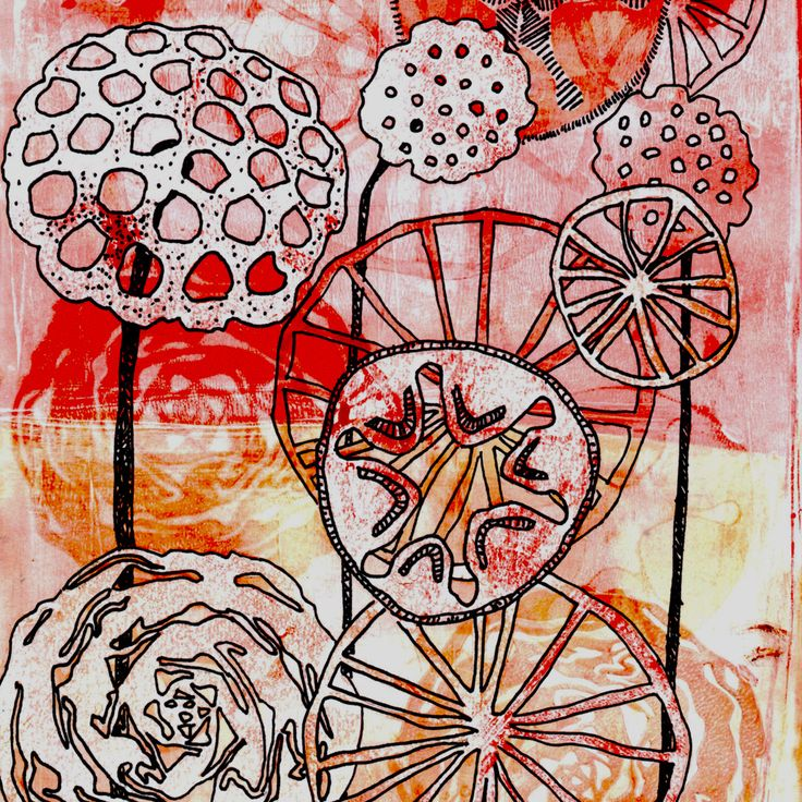 Orange, lotus flower Gelli print . I used hand cut stencils based on natural shapes. Outlining the shapes helps bring them to life.