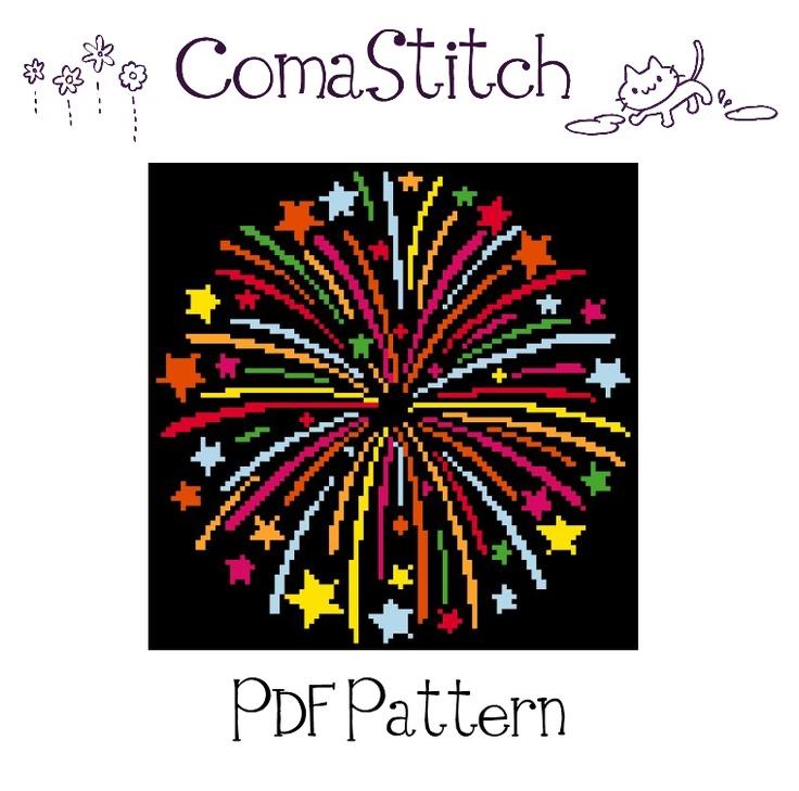 Fireworks Cross Stitch Pattern by ComaStitch, $5.00