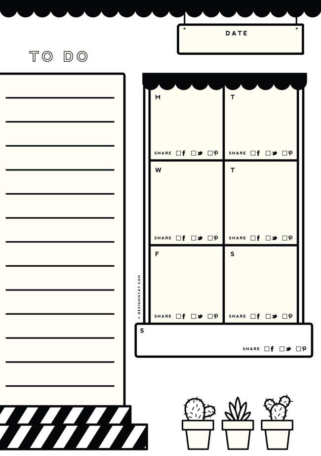 Imprimible para planificar los posts de la semana en el blog >> Printable Weekly Blog Planner | DESIGN IS YAY!