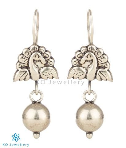 bfcba1aa5 The Ahibhuj Silver Peacock Earrings | Antique Silver Jewellery ...