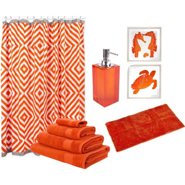 41 best bathroom in orange color images on pinterest for Orange bathroom accessories set