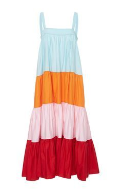 Wyatt Colorblock Tiered Maxi Dress by MDS STRIPES Now Available on Moda Operandi