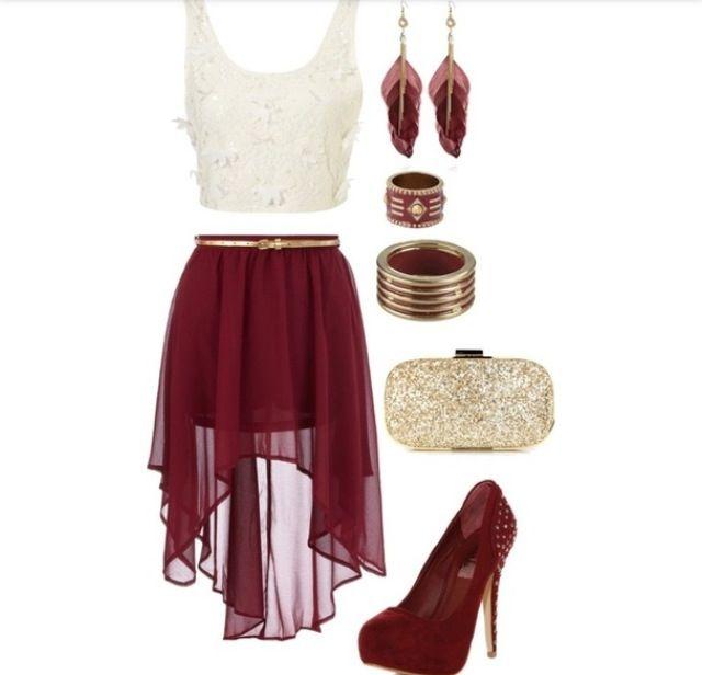 maroon white high low skirt crop top shirt