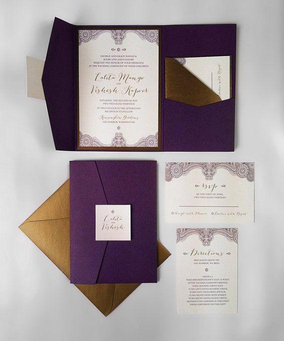 Pocket Fold Wedding Invitation Suite - Metallic Paper, $6.00