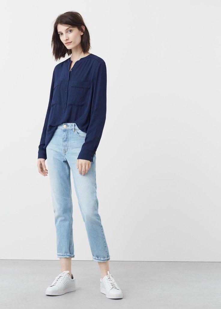 Струящаяся блузка с карманами - Рубашки - Женская | OUTLET Россия (Российская Федерация)
