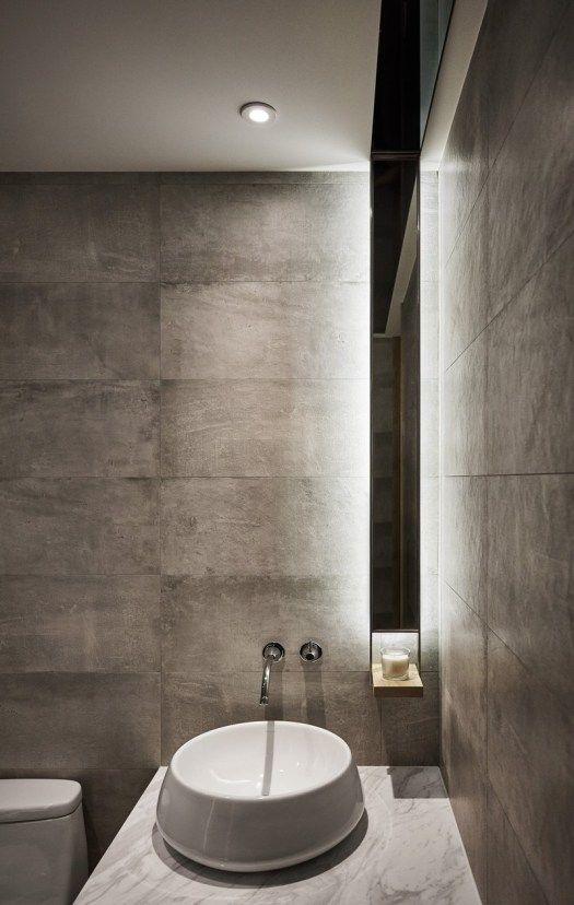 Stone textures in bathroom - Taiwan apartment