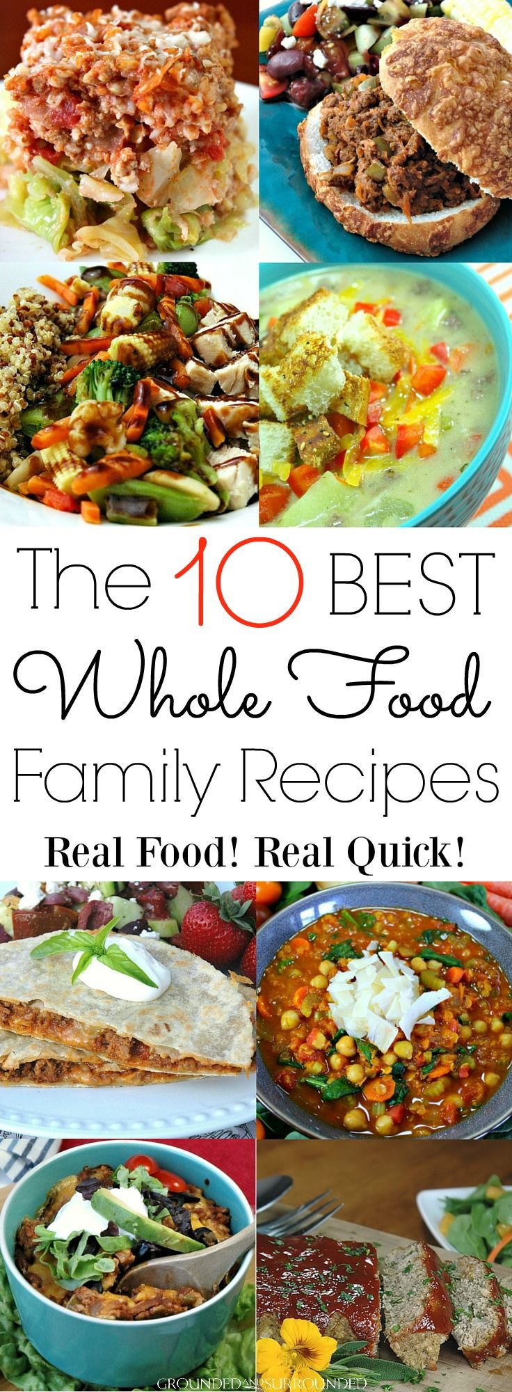 The 10 Best Whole Food Family Recipes   The BEST kid friendly and family favorite recipes just got healthy! Every dinner is easy, delicious, and packed full of nutrient dense whole foods aka vegetables, fruit, and lean protein. Are you on a budget? These meals will stretch your food budget too! You will fall in love with these quick and fun foods whether you follow clean eating, Paleo, or gluten-free vegetarian diets!