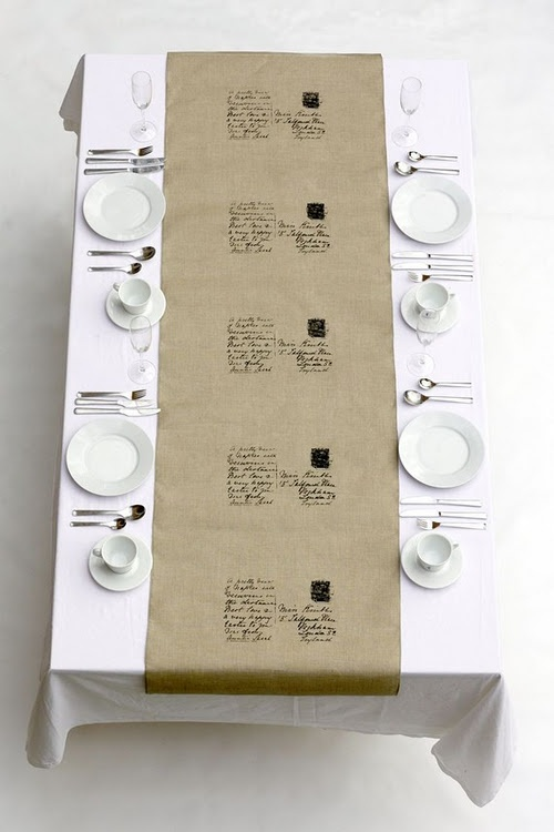 Table setting - love the idea of running brown paper down the centre and writing the seating chart directly on the paper?