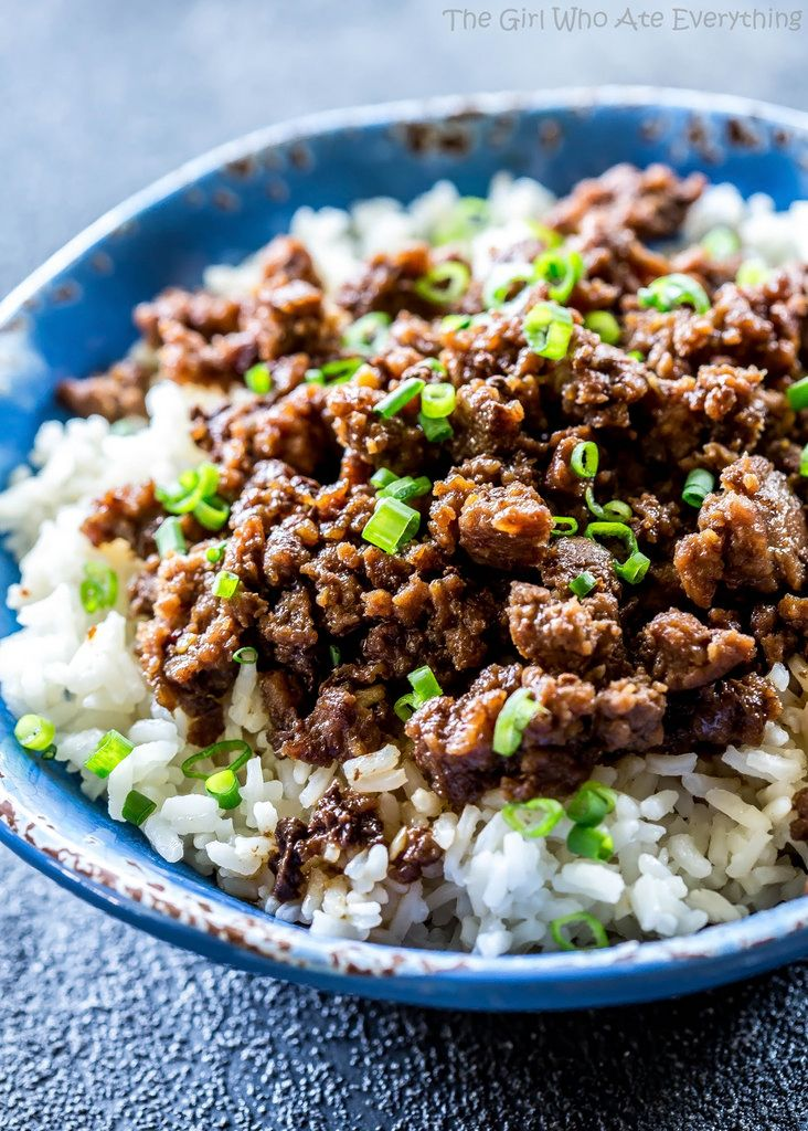 Cheater Korean Beef - a quick version of the classic served over rice or in lettuce wraps for a low-carb option. the-girl-who-ate-everything.com