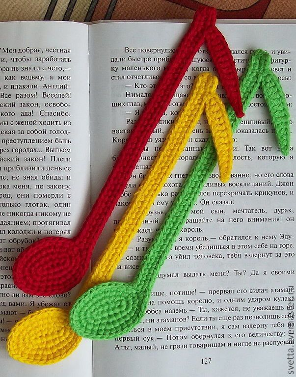 """Купить """"Цветные нотки"""" вязаные закладки - закладка, вязаная закладка, закладка для книги"""