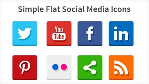 Простые иконки социальных сетей в плоском стиле (PSD и PNG)