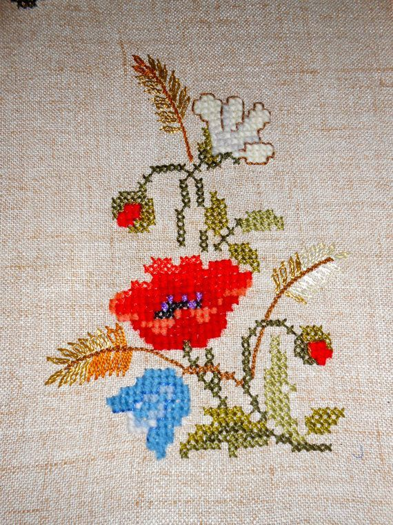 Vintage Swiss Hand Made Embroidered Table Topper by STYLEMIX