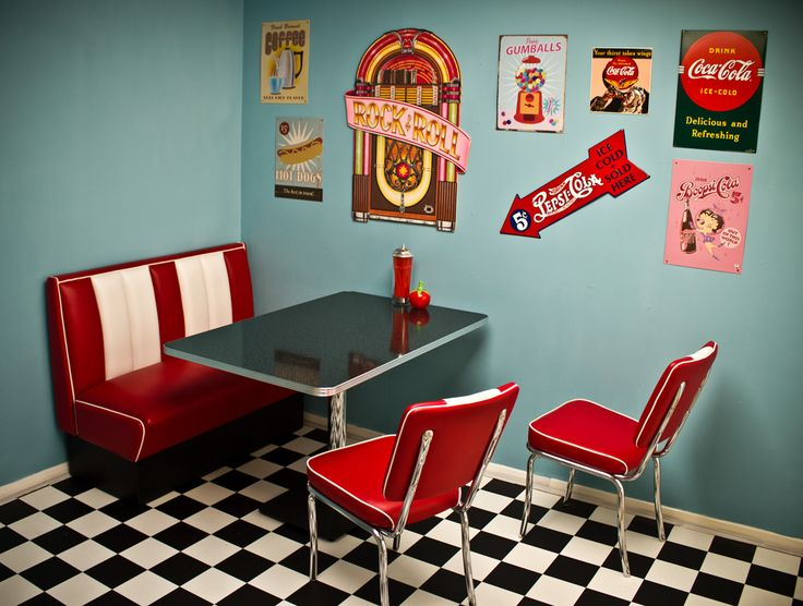 50's American diner with coca cola theme