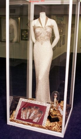 """Tejano singer Selena's dress that she wore during her appearance at the 1994 Grammy's is on display at the Selena Museum. Selena won a Grammy for her album """"Selena Live."""" / AP1999"""