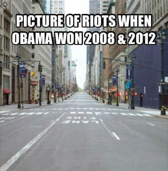 November 10 2016. Republican rioting after Obamas two elections Does anyone see the difference.. .