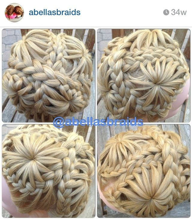 How cool it this? 4 starburst braids with the plaits wrapped around. Must try this!