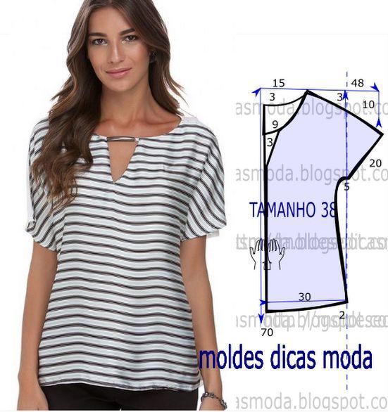 BLUSA DE RISCAS -91 - Moldes Moda por Medida