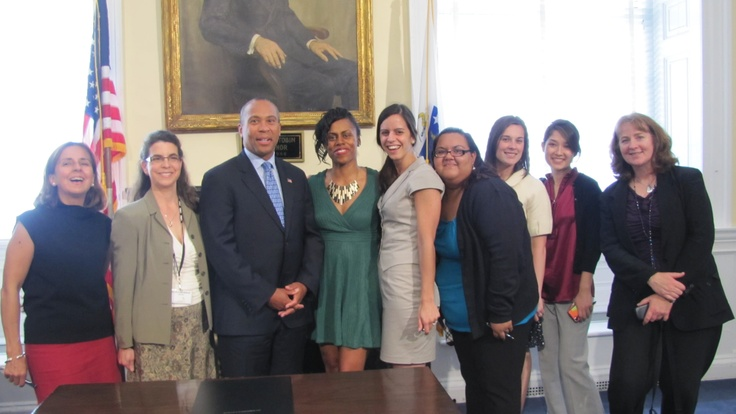 "#Massachusetts Governor Deval Patrick poses with Crittenton Women's Union staffers and participants after the signing of Bill H.3625, ""An Act Relative to Oversight of Private Occupational Schools"" on May 24, 2012. #Boston"