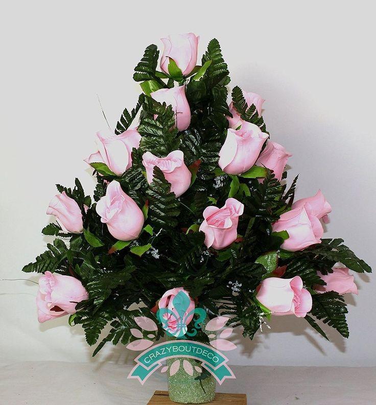 XL Beautiful Classic Pink Roses Cemetery Flower Vase Arrangement