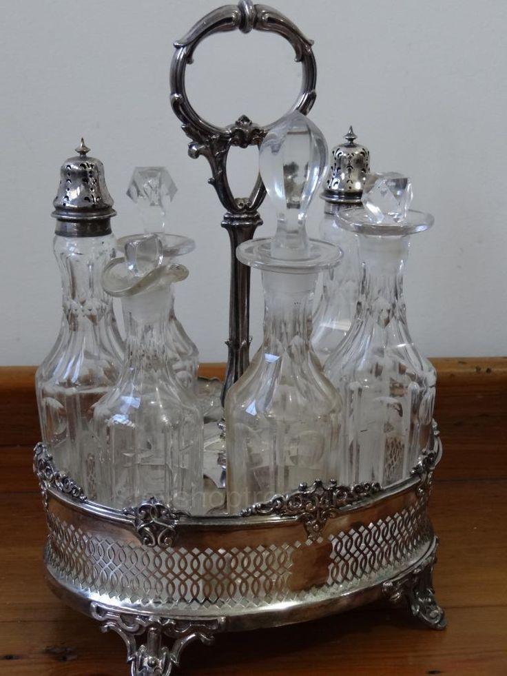 Large 7 Piece Antique Silver Cruet Set - Condiments