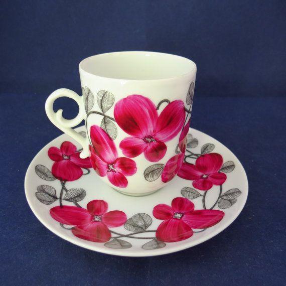 Arabia of Finland, Irina handpainted coffee cup and saucer.