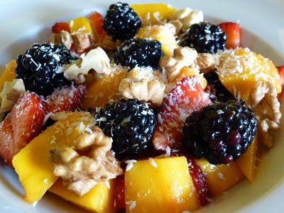 Raw Vegan Blackberry, Strawberry And Mango Breakfast Salad - A Healthy Way To Start Your Day