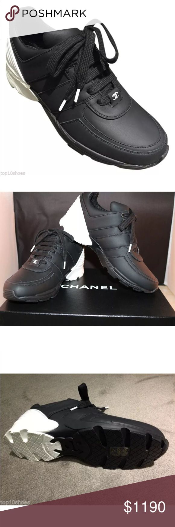 CHANEL LOGO BLACK WHITE LEATHER SNEAKERS TENNIS 37 Chanel Made in Italy  CC logo on top Come in original box with dust bag Material: Leather / Mesh  Color: black and white  Run true to size  New 2016 Collection Sneakers CHANEL Shoes Athletic Shoes