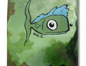 Fishie 6x6 Original Painting. Perfect for Baby's room!