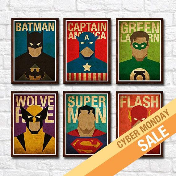 ** Note: You can swap the prints with any superheroes listed in my shop. You can let me know your request under Note to MyGeekPosters ** Set includes of: 1 Flash 1 Batman 1 Green Lantern 1 Superman 1 Wolverine 1 Captain America * Digital printed on 220g Off-White textured cardstock *