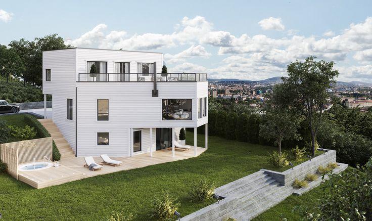 Hvorfor ikke tenke helt nytt på hvordan hjemmet ditt skal se ut? Dette huset består av to unike kuber på ulikt bakkenivå bundet sammen til en forførende form. Store vindusfelter gir mengder av naturlig dagslys og husets arkitektur skaper muligheter for flere private uteplasser.
