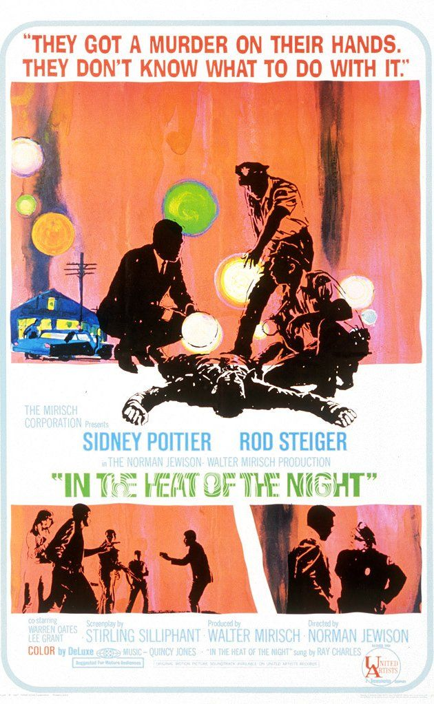 In the Heat of the Night (1967) Sidney Portier plays a black detective from Philadelphia who is asked to investigate a murder in a racist southern town.
