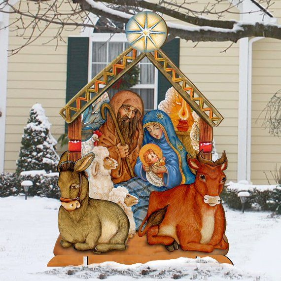 Nativity Wooden Free Standing Christmas Outdoor Decoration 8114030f Outdoor Christmas Decorations Outdoor Christmas Outdoor Holiday Decor