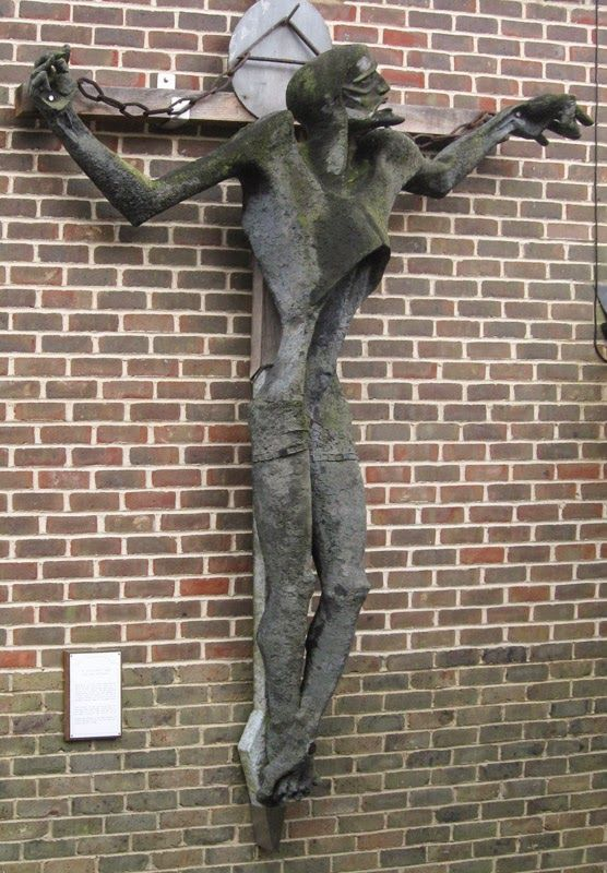 Edward Bainbridge Copnall Coal Christ sculpture Was on outside of church in Broadbridge Heath but now moved to Horsham Museum Sussex