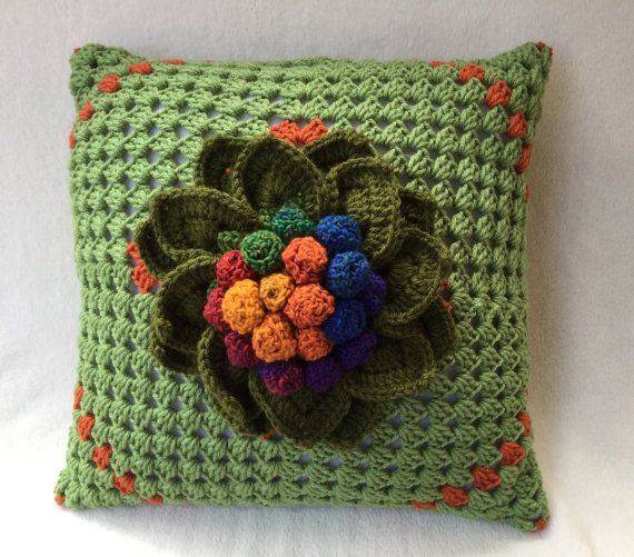 Green pillow flower pillow decorative crochet by JilaCrochet