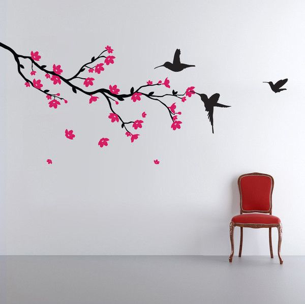Cherry blossom branch blowing in the wind, humming bird and simple design, with humming birds and colourful Japanese blossom wall sticker and wall decal or wall art, for children adults offices and classrooms. Fill the corner of a room with colour and brighten up your space with this beautiful wall sticker. | Vinyl Impression