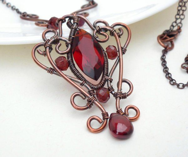 Dark red gothic necklace wire wrapped copper by CreativityJewellery on DeviantArt