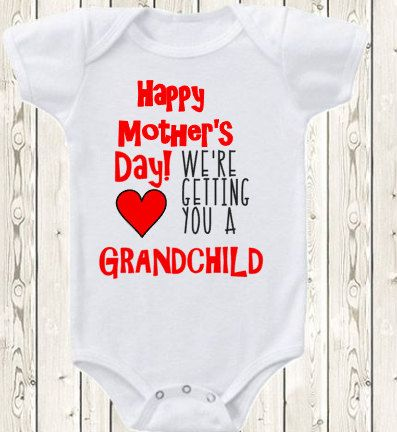 Mother's day pregnancy announcement idea for grandma or great grandma ONESIE ® brand bodysuit or shirt pregnancy reveal idea grandma by The1stYearBaby on Etsy