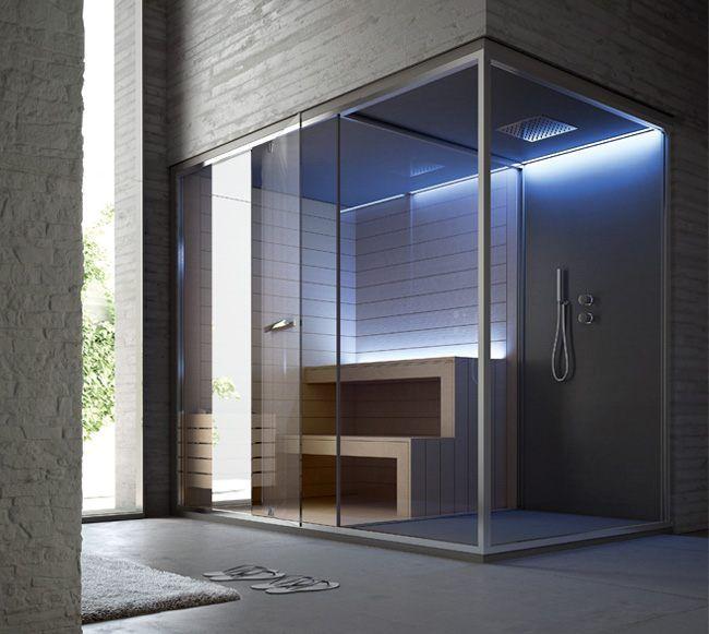 Ethos sauna + spazio doccia 252 x 150 x 215 (H) cm