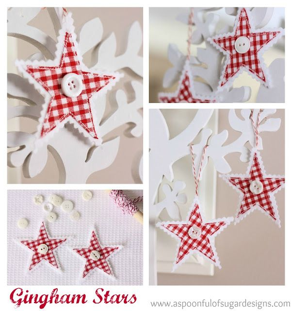 felt and gingham fabric hanging stars with button on the front - like these pretty decs