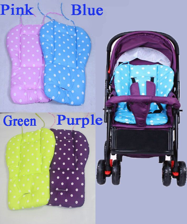 Cotton Baby Kid Stroller Mat Solid Dot Seat Cushion For Stroller Baby Chair Pad Stroller Accessories Purple Pink Blue Dot Design