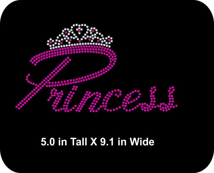 Princess Rhinestone Iron-On - Two sizes to choose from - Choice of colors -  Shirt Transfer Applique - Hot fix DIY - pinned by pin4etsy.com