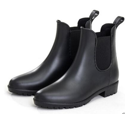 2016New Women Rain Boots Autumn Fashion All-match Round Toe Low Heel Waterproof Women Ankle Boots Rubber Boots Woman Water Shoes